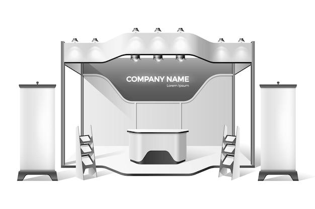 Stand de exposição de publicidade da empresa com palco, pódio para apresentações com teto, sporlights e área com estantes, banners. expo de negócios