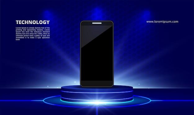 Stand de luz azul da exposição de produtos de tecnologia científica