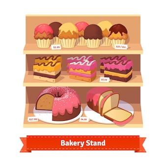 Stand de padaria com sobremesas doces