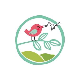 Stand de pássaros cantando no modelo de logotipo de ilustração de galho