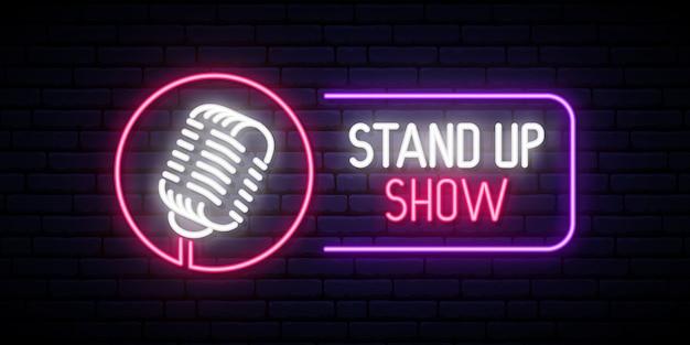 Stand up show emblema no estilo neon.