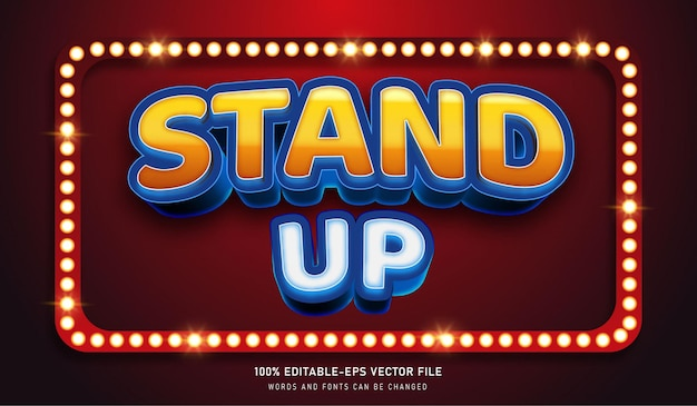 Stand up text effect e editable font white circus lamps