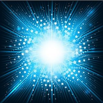 Starbursh faísca fundo azul