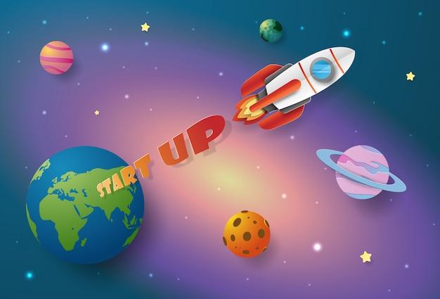 Start-up business conceito, lançamento de foguete para o espaço