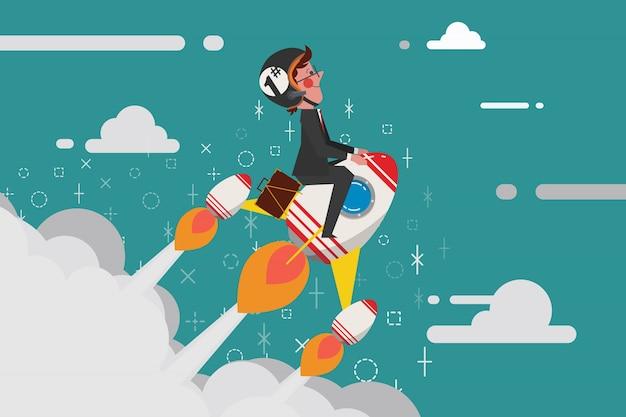 Start up business concept, jovem empresário montando um foguete no céu, estilo de desenho de desenhos animados estilo plano