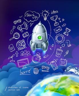 Start up, infográficos de negócios, conjunto de vetores