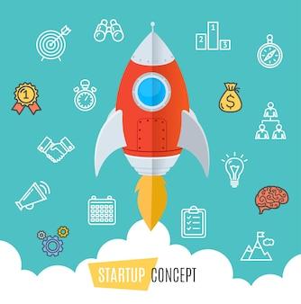 Start up motivation concept rocket fly em sky flat design style. ilustração vetorial
