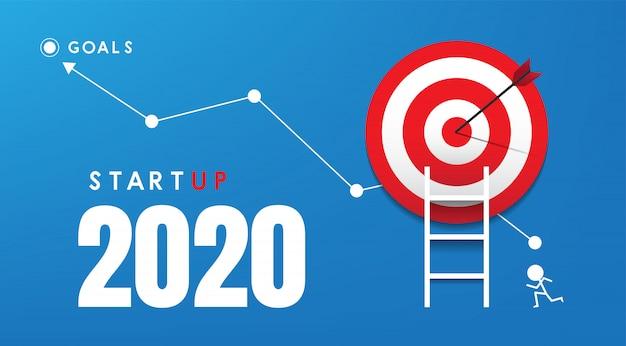 Startup de ano novo de 2020 e conceito de ideias de mercado-alvo