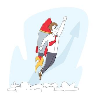 Startup de negócios, impulso de carreira e conceito de crescimento. empresário alegre voando com jet pack