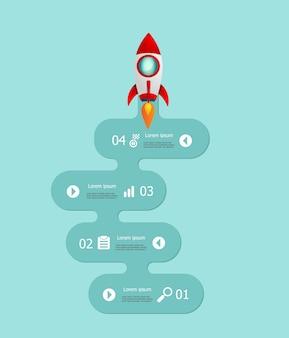 Startup infographics 4 passos com lançamento de foguete