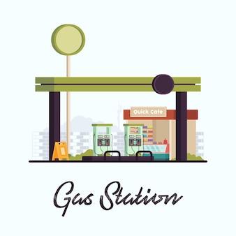 Status de enchimento de estação eletrônica de posto de gasolina plano