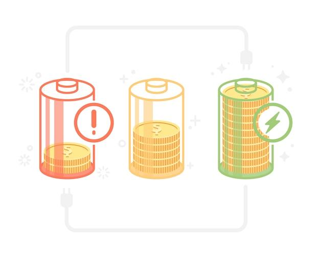 Status de energia do dinheiro na bateria