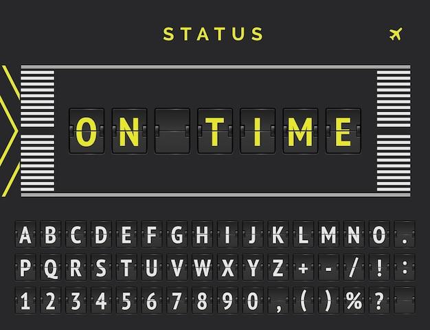 Status de partida do voo no estilo de marcação da pista do aeroporto. a fonte vector flip anuncia que o voo chega no horário