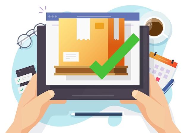 Status do pedido de frete de carga enviado online no tablet digital