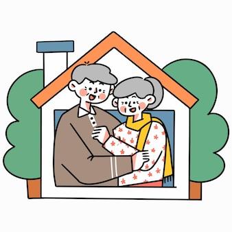 Stay safe from home 3 doodle illustration asset