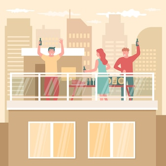 Staycation conceito em um terraço na cobertura