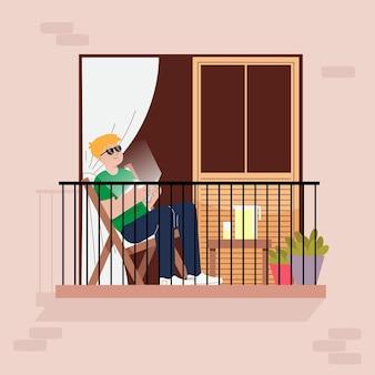 Staycation em casa conceito de varanda