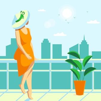 Staycation em casa, varanda, ilustração, conceito