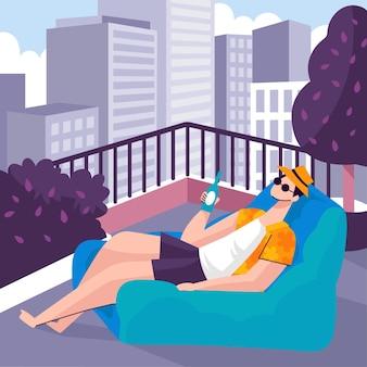 Staycation em um terraço na cobertura