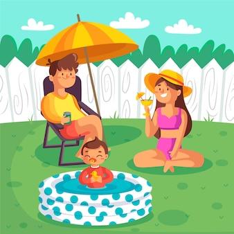 Staycation ilustrado no quintal