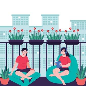 Staycation na varanda de casa com homem e mulher