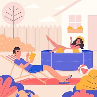Staycation no conceito de quintal