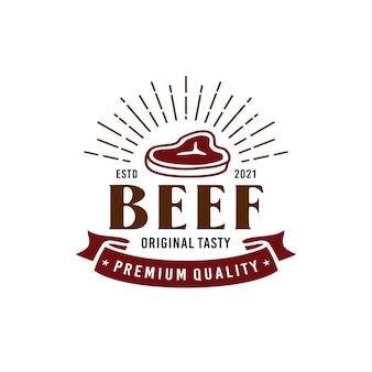 Steak beef logo emblema restaurant beef design inspiração
