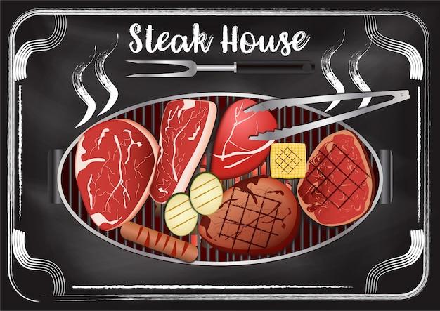 Steakhouse com fundo de quadro de giz