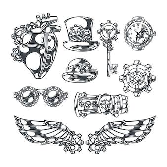 Steampunk conjunto de ícones decorativos isolados com imagens de estilo de esboço de coração de asas mecânicas e fitas com texto