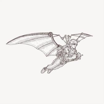 Steampunk, máquina voadora, mão, desenho