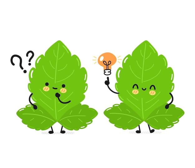 Stevia engraçado fofo folheia personagem com lâmpada de ideia. vetorial mão desenhada ícone de ilustração de personagem kawaii de desenho simples plana. isolado em um fundo branco. conceito de personagem de desenho animado stevia sugar leafs