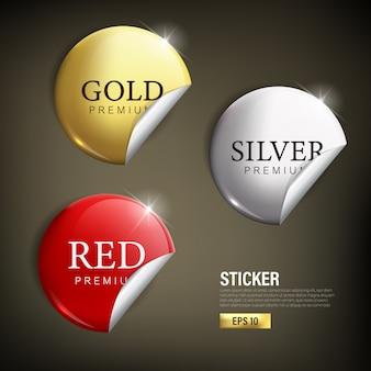 Stikcer definir círculo moderno cor ouro prata e vermelho