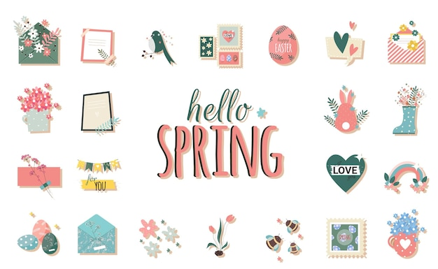 Stikers românticos de primavera com envelope e flores