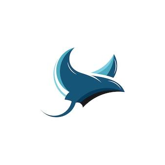 Stingray logo mascot cartoon vector simples