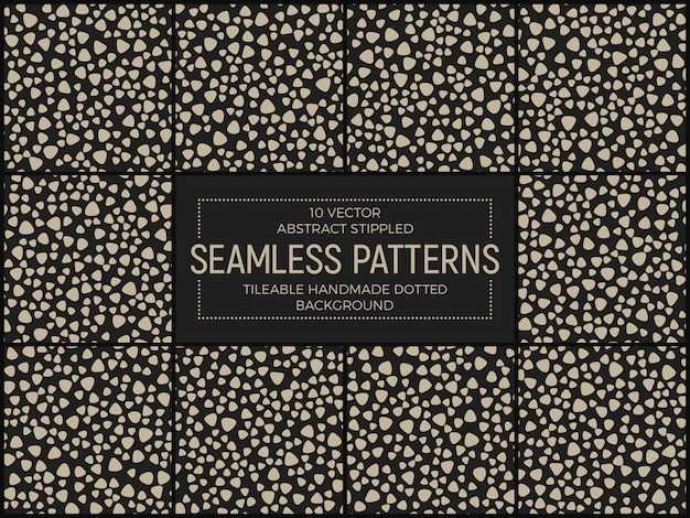 Stippled retro funky abstract seamless patterns set vector