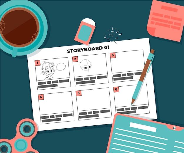 Storyboard com café e borracha