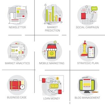 Strategy plan marketing investment conjunto de ícones de ideia de negócio