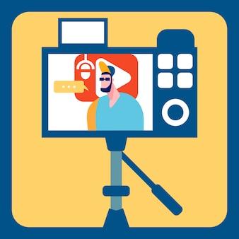 Streamer recording video flat color ilustração