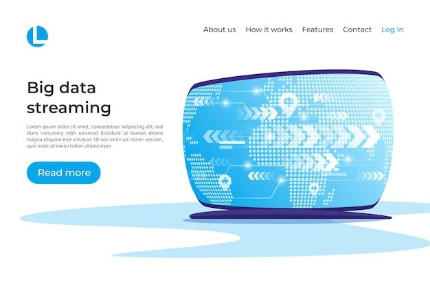 Streaming de big data, conceito global de coonnections. modelo de página de destino. amostras globais.