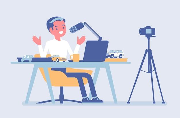 Streaming de podcaster do blogger. homem escrevendo material para um blog, revisando para jornal online ou conteúdo de site, postando vídeos curtos em um vlog, programa de gravação. ilustração em vetor estilo simples dos desenhos animados