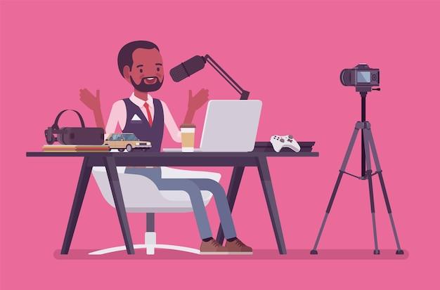 Streaming de podcaster do blogger. homem negro escrevendo material para blog, revisando conteúdo de jornal online ou site, postando vídeo curto em vlog, programa de gravação. ilustração em vetor estilo simples dos desenhos animados