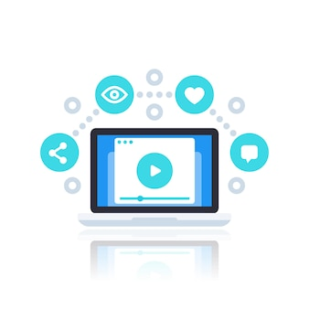 Streaming de vídeo, vlog, ilustração vetorial de conteúdo de vídeo