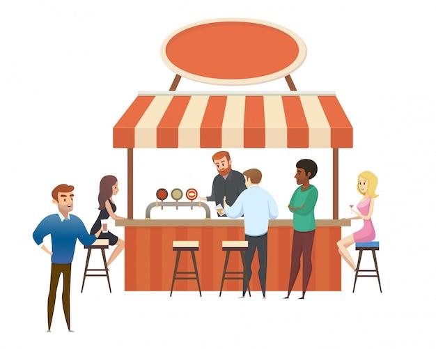 Street cafe, bar local com vetor plana de visitantes
