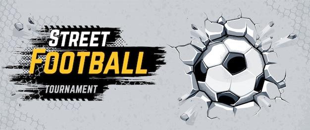 Street football design com parede de quebra de bola de futebol. ilustração vetorial.