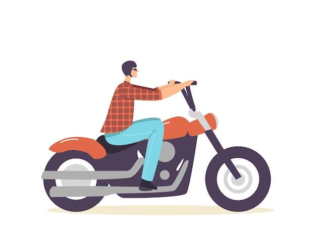 Street racer hobby ou estilo de vida, conceito de cultura urbana. brutal biker personagem masculino que monta uma motocicleta personalizada, man in helment travel on chopper, city subculture. ilustração em vetor desenho animado