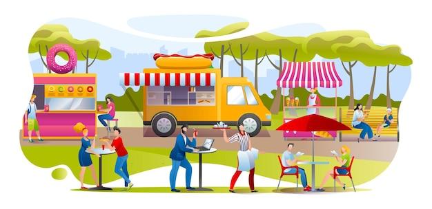 Streetfood no parque, ilustração vetorial. homem mulher personagem pessoas comendo rosquinhas, cachorro-quente e sorvete ao ar livre, flat festivale com foodtruck café