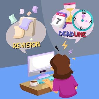 Stress de designer gráfico trabalhando com prazo e revisão
