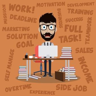 Stress de homem trabalhador da arte de vetor de emprego dos desenhos animados