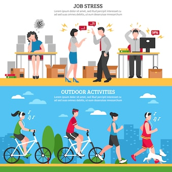 Stress e banners de relaxamento