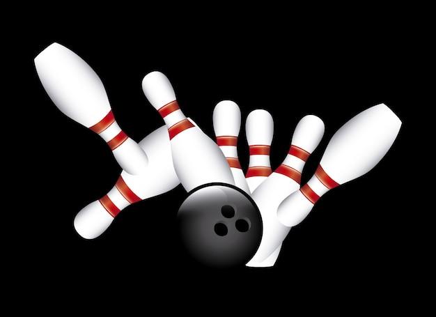 Strike boliche sobre ilustração vetorial de fundo preto